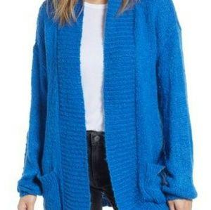BP shawl-collar long blue cardigan sweater
